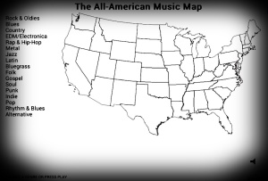 "Click to view a nifty interactive ""genre by state"" map!"